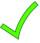 a green coloured tick symbol